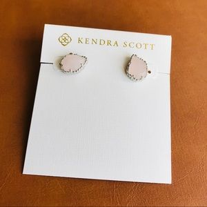 Kendra Scott Tessa silver rose quartz earrings